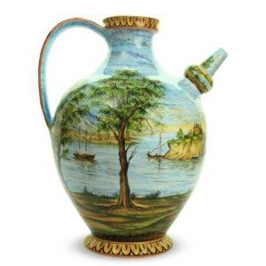 Otre in ceramica artigianale con paesaggio marino di Ceramiche Liberati