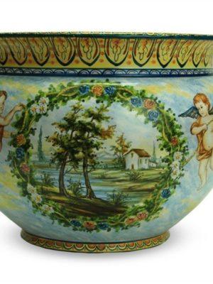 Vaso in ceramica Paesaggio e Puttini dipinto a mano, Ceramiche Liberati