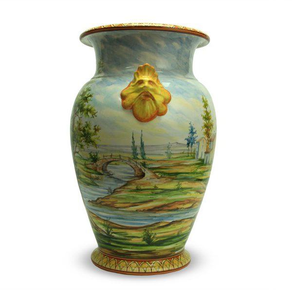 59cit_vaso-in-ceramica-artigianale-paesaggio-e-mascheroni-oro_ceramiche-liberati