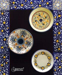 Piattino sottobottiglia dipinto a mano_Ceramiche Liberati