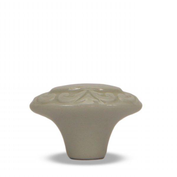 03GAS24_Pomello in ceramica smaltato bianco ghiaccio Acanto