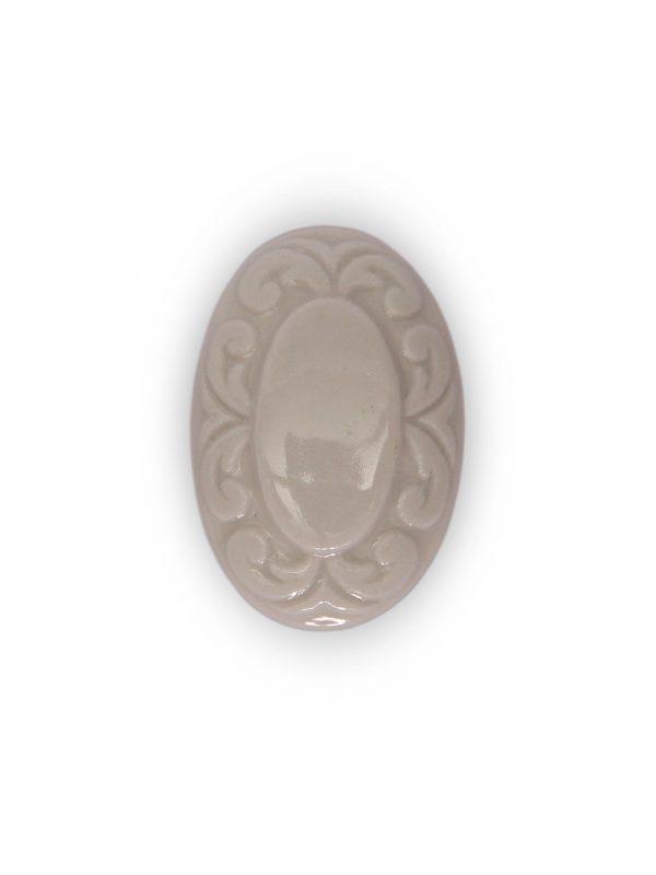 03GAS24_Pomello in ceramica smaltato bianco ghiaccio Acanto top