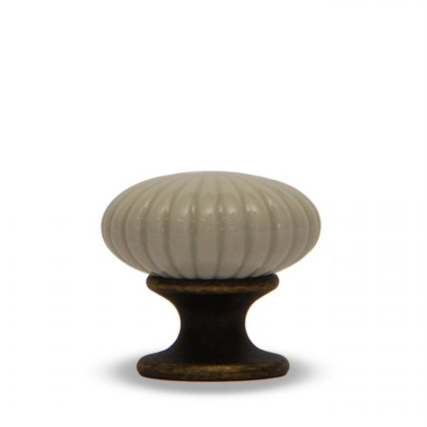 06PAS24B_Pomello in ceramica maiolica modello Astra azzurrato con base in bronzo_Ceramiche Liberati