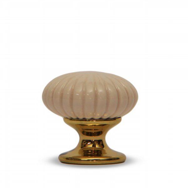 06PRS24O_Pomello in ceramica maiolica modello Astra rosato con base in ottone_Ceramiche Liberati