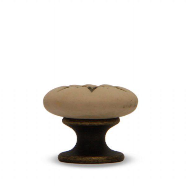 07PAB24B_Pomello in ceramica porcellana italiana Stella effetto anticato con base in bronzo_Ceramiche Liberati