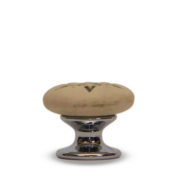 07PAB24C_Pomello in ceramica porcellana italiana Stella effetto anticato con base in cromo_Ceramiche Liberati