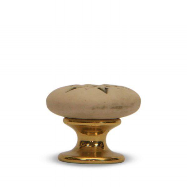 07PAB24O_Italian ceramic knob Stella old-looking effect with brass base_Ceramiche Liberati_photo
