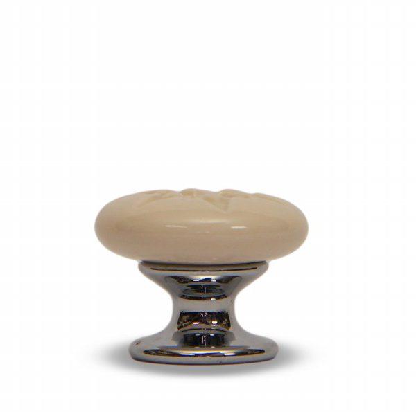 07PRS24C_Pomello in ceramica porcellana italiana Stella effetto rosato con base in cromo_Ceramiche Liberati