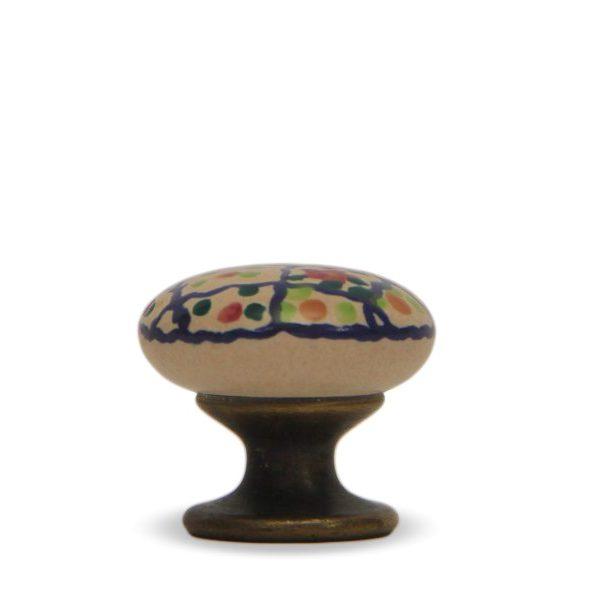31PMD24B_Pomello in ceramica artigianale decoro Riquadro con base in bronzo_Ceramiche Liberati