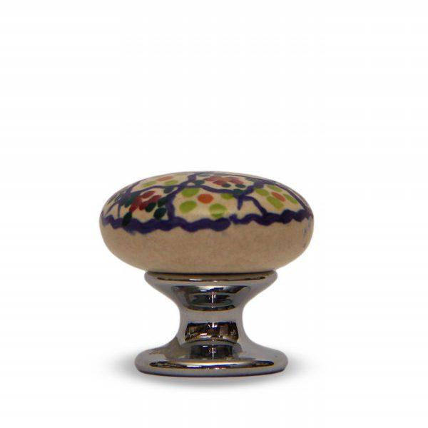 31PMD24C_Pomello in ceramica artigianale decoro Riquadro con base in cromo_Ceramiche Liberati