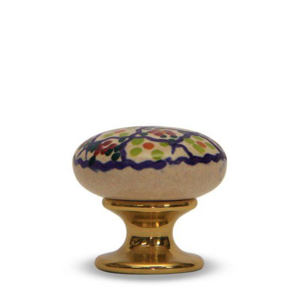 31PMD24O_Pomello in ceramica artigianale decoro Riquadro con base in ottone_Ceramiche Liberati