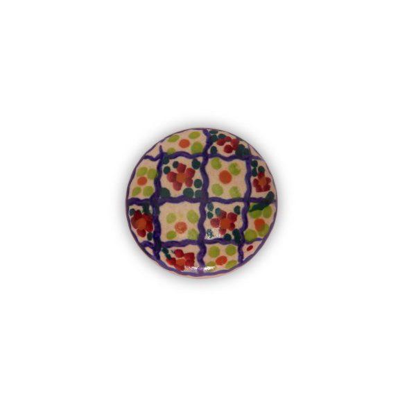 31PMD24_Pomello in ceramica top artigianale decoro Riquadro base in bronzo_Ceramiche Liberati