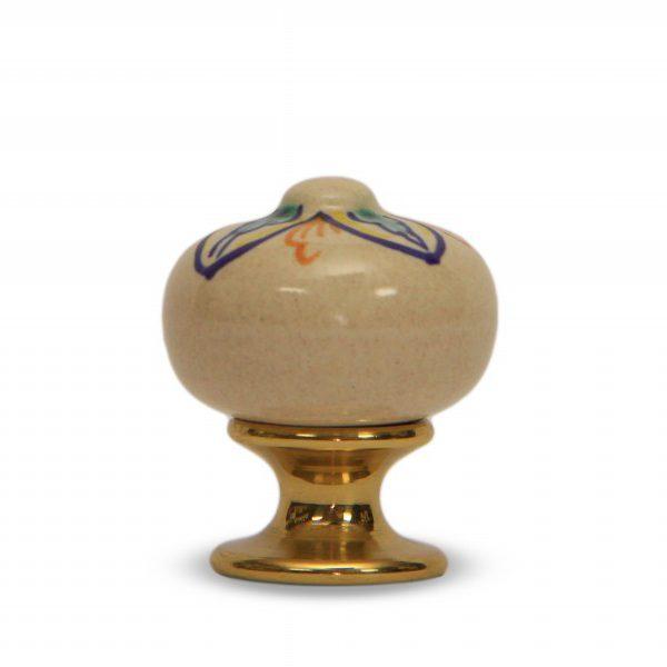 34PMD24O_Pomello in ceramica Made in Italy decoro Quadrifoglio con base in ottone_Ceramiche Liberati