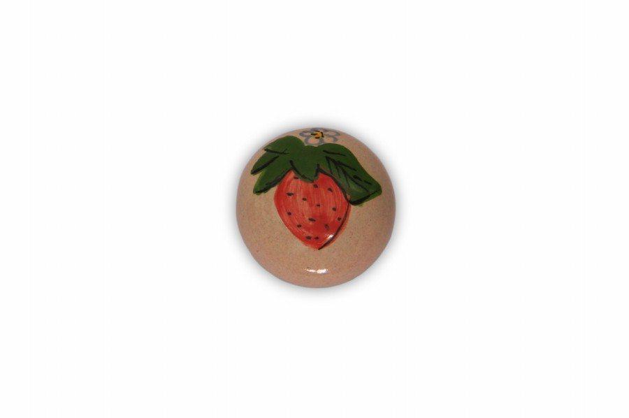 37PMF24_Ceramic majolica knob Fragola decoration with chrome base_Ceramiche Liberati
