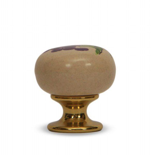 37PMU24O_Pomello in ceramica maiolica italiana decoro Uva rossa con base in ottone_Ceramiche Liberati