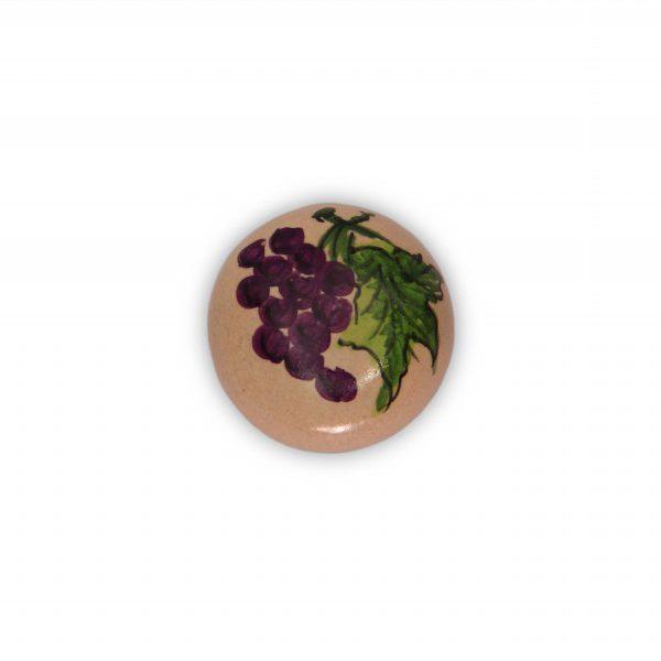 37PMU24_Pomello in ceramica maiolica italiana decoro Uva rossa base in ottone_Ceramiche Liberati