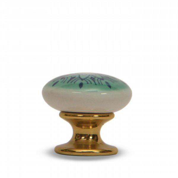 46PMD24O_Pomello in ceramica con la stampa digitale decoro Oriente base ottone_Ceramiche Liberati
