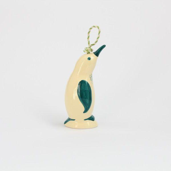 01CAM-A_Campanella in ceramica artigianael Pinguino avorio verde profilo_Ceramiche Liberati
