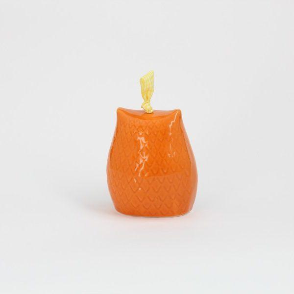 02CAM-MAR_Campanella in ceramica Gufo arancio retro_Ceramiche Liberati