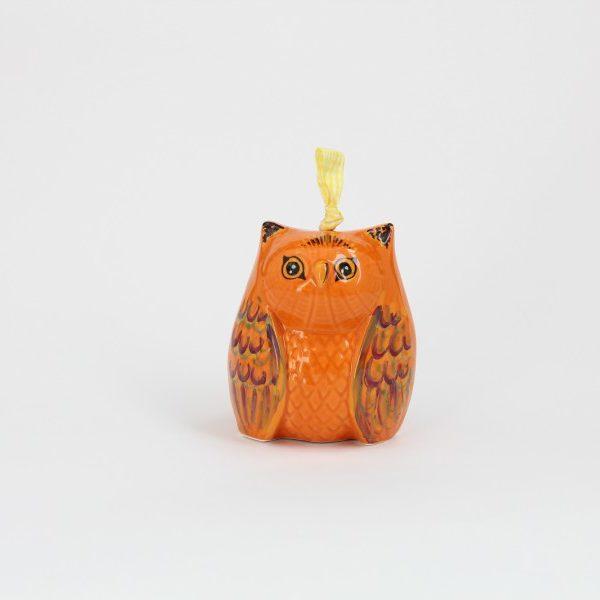 02CAM-MAR_Campanella in ceramica artigianale Gufo arancio fronte_Ceramiche Liberati
