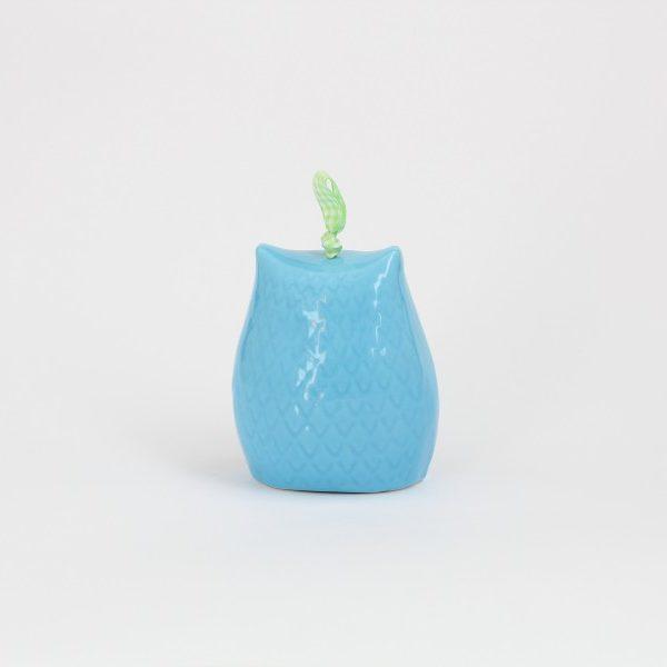 02CAM-MAZ_Campanella in ceramica Gufo azzurro medio retro_Ceramiche Liberati