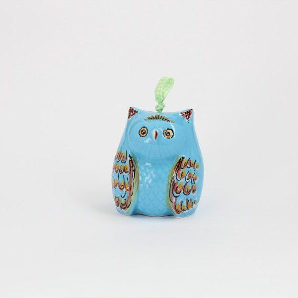 02CAM-MAZ_Campanella in ceramica Gufo azzurro medio_Ceramiche Liberati