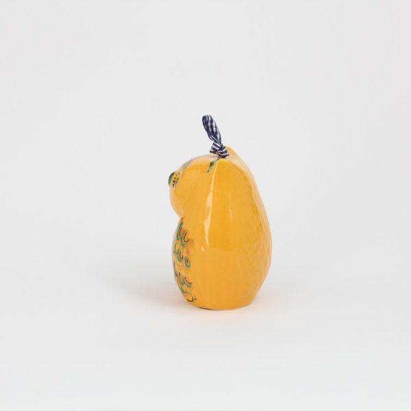 02CAM-MG_Campanella in ceramica Gufo giallo profilo_Ceramiche Liberati