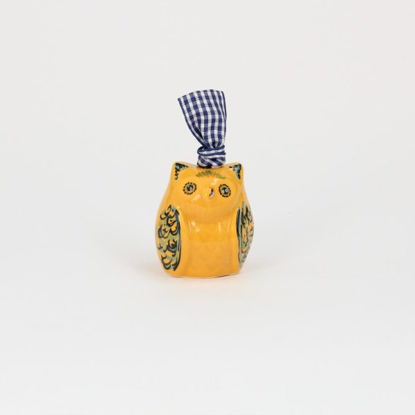 03CAM-PAR_Campanella in ceramica Gufo aranciona fronte_Ceramiche Liberati