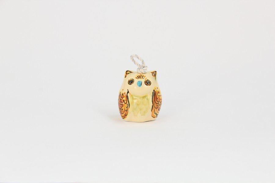 Campanella in ceramica italiana a forma di Gufo piccolo, Ceramiche Liberati