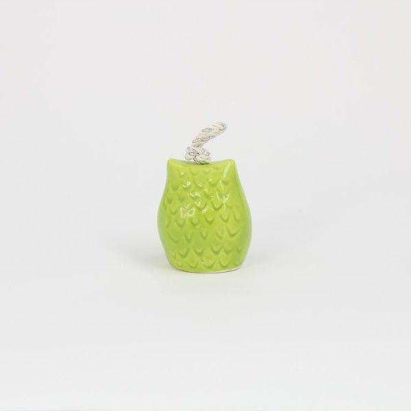 03CAM-PV_Campanella in ceramica Gufo verde dipinto retro_Ceramiche Liberati