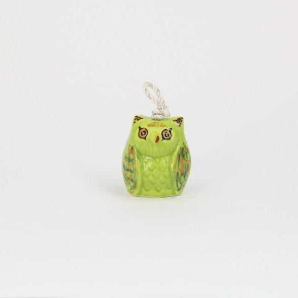 03CAM-PV_Campanella in ceramica Gufo verde dipinto_Ceramiche Liberati