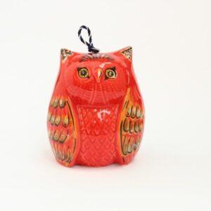 Campanella in ceramica italiana a forma di Gufo GRANDE, Ceramiche Liberati