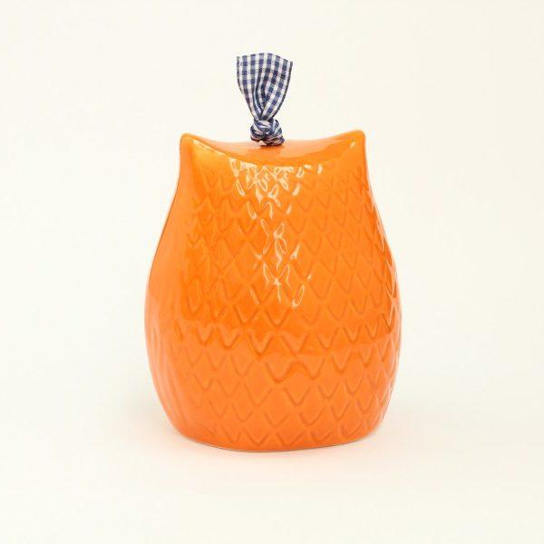 04CAM_GAR_Campanella in ceramica Gufo arancio dipinto a mano grande_Ceramiche Liberati