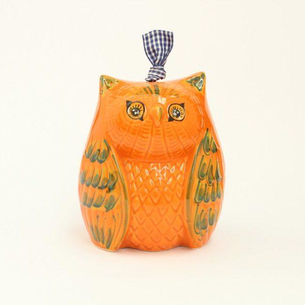 04CAM_GAR_Campanella in ceramica Gufo arancio dipinto grande_Ceramiche Liberati