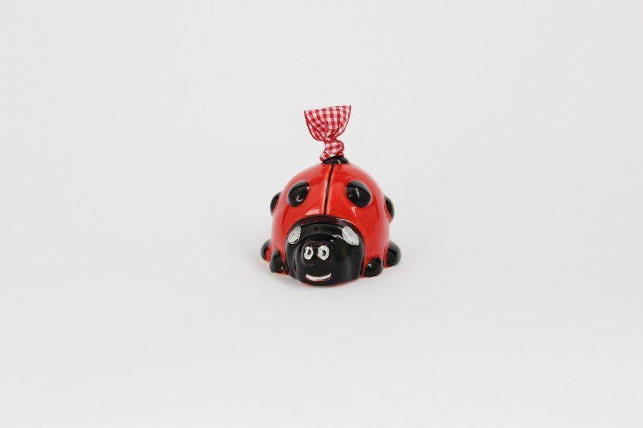 Campanella in ceramica italiana artigianale a forma di Coccinella, Ceramiche Liberati