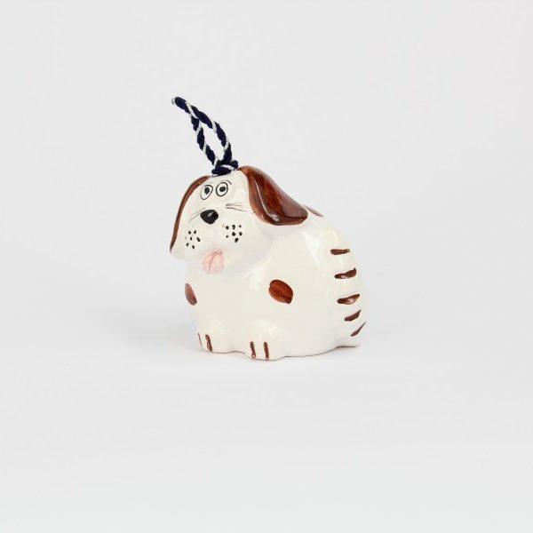 06CAM-BM_Campanella in ceramica Cane bianco e marrone a pois_Ceramiche Liberati