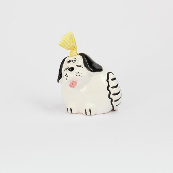 06CAM-B_Campanella in ceramica Cane bianco con orecchie nere_Ceramiche Liberati