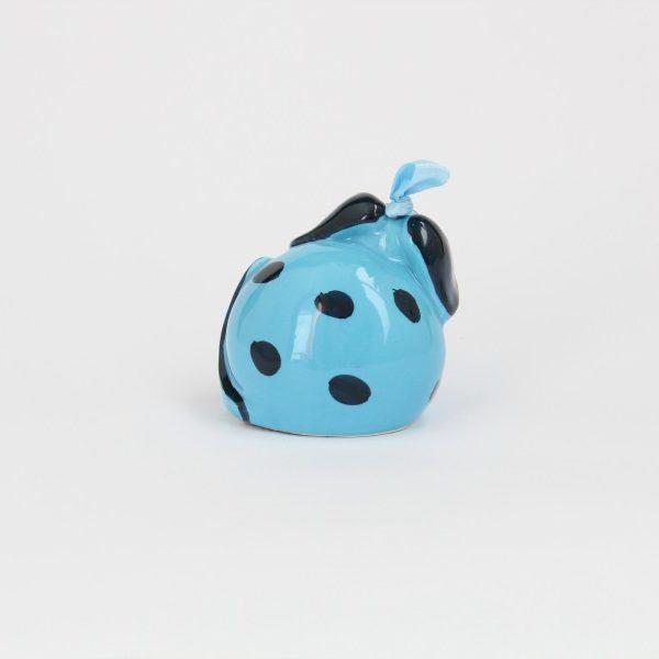 06CAM-TBL_Campanella in ceramica Cane turchese e blu a pois retro_Ceramiche Liberati