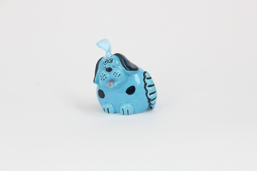 06CAM-TBL_Campanella in ceramica Cane turchese e blu a pois_Ceramiche Liberati