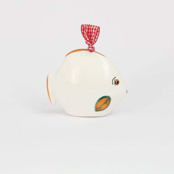 07CAM-BAR_Campanella in ceramica Pesce felice bianco arancio _Ceramiche Liberati