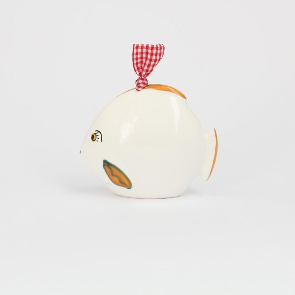 07CAM-BAR_Campanella in ceramica Pesce felice bianco arancio profilo_Ceramiche Liberati