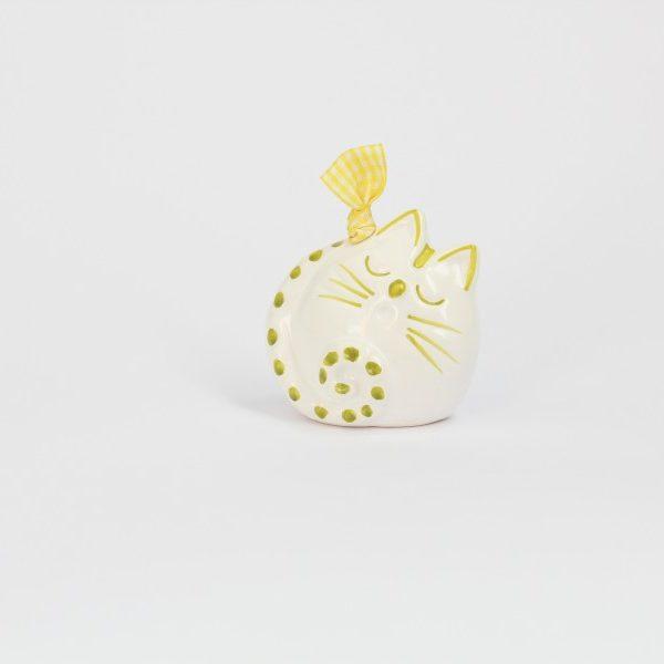 08CAM-BV_Campanella in ceramica Gatto che dorme bianco e verde_Ceramiche Liberati