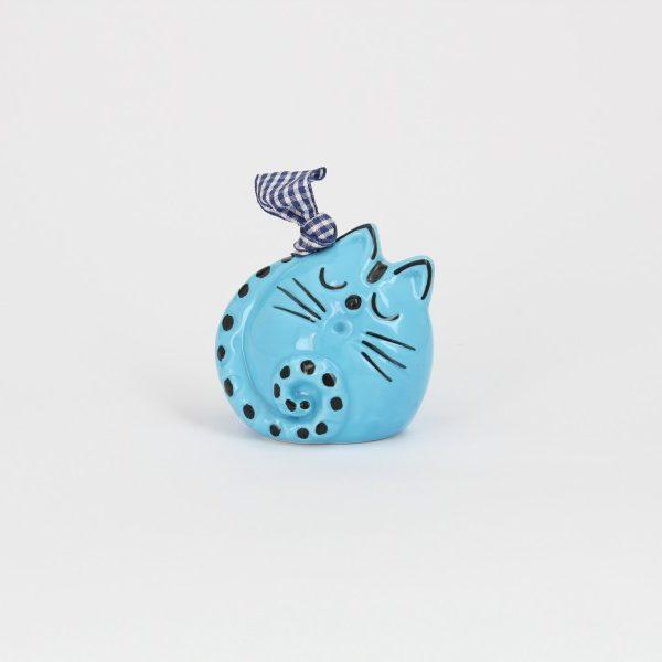 Campanella in ceramica artigianale a forma di Gatto dormiente, Ceramiche Liberati