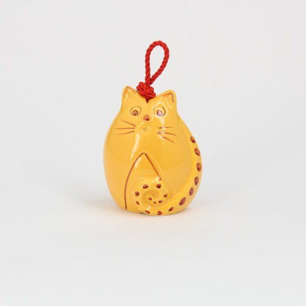 Campanella in ceramica artigianale a forma di Gatto, Ceramiche Liberati