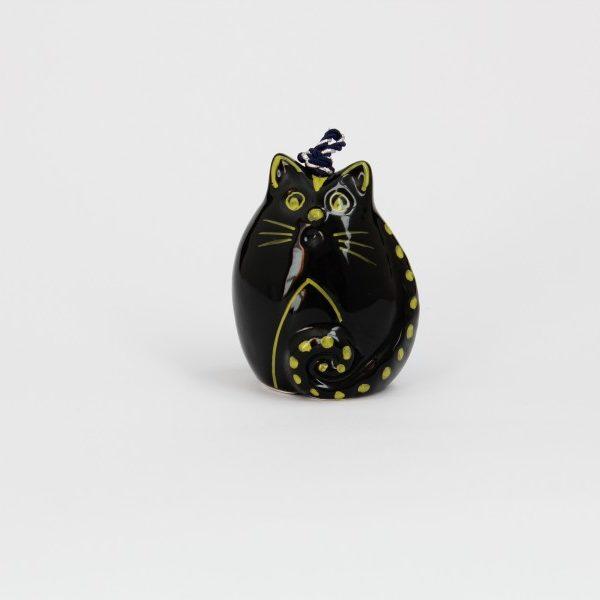 09CAM-NG_Campanella in ceramica Gatto sveglio nero e giallo_Ceramiche Liberati