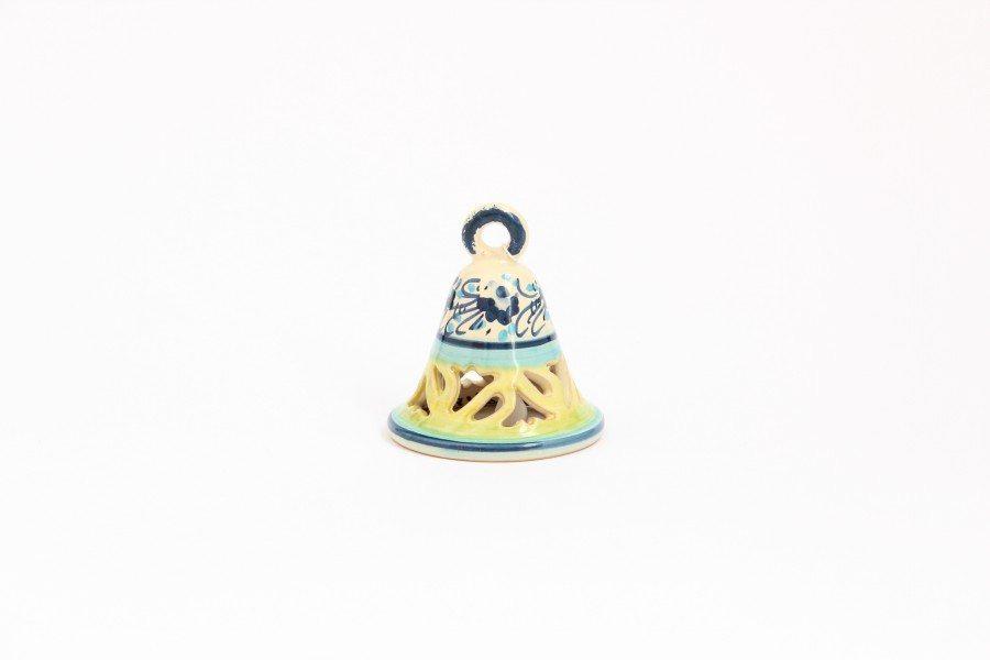 106CAM-TFM_Campanella in ceramica tradizionale traforata decoro a fascia_ceramiche Liberati