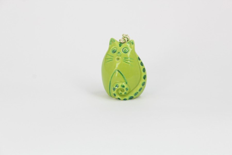 17CAM_Campanella in ceramia Gatto sveglio verde_Ceramiche Liberati
