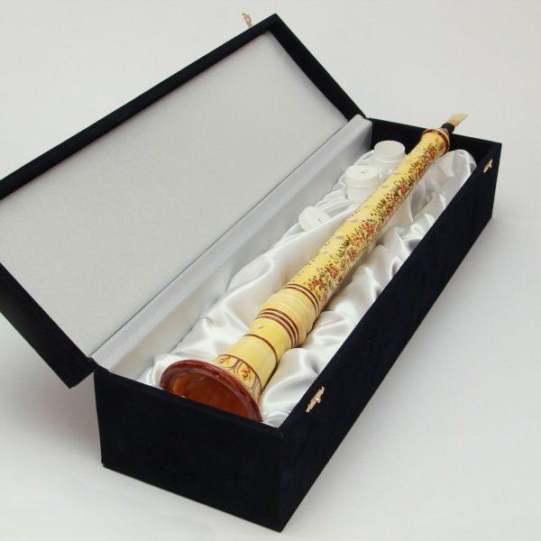 02SMC_Ciaramella in ceramica abruzzese decoro a fascia floreale con scatola_Ceramiche Liberati
