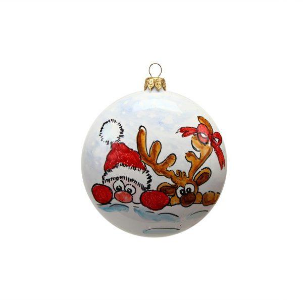 Pallina di Natale in ceramica Babbo Natale e renna di Ceramiche Liberati