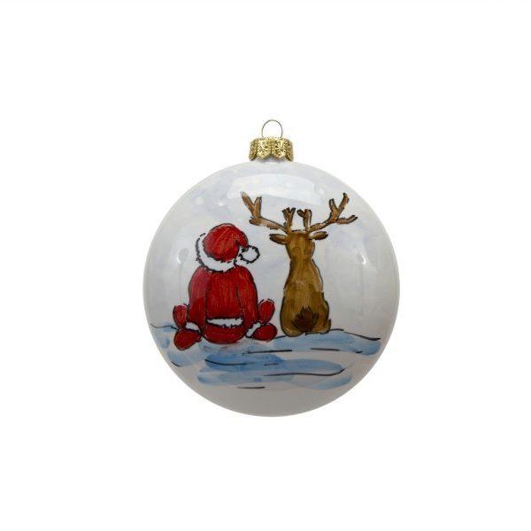 Pallina in ceramica con Babbo Natale e renna dipinto a mano da Ceramiche Liberati